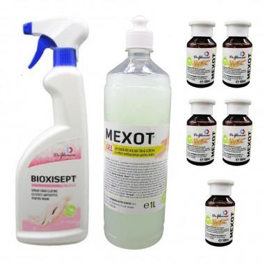 Pachet pentru dezinfectia mainilor, cu Spray Bioxisept 750ml, Mexot - Gel dezinfectant cu alcool 1l si 5buc. 100ml