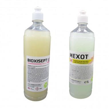 Pachet cu 2 geluri dezinfectante, pentru dezinfectie maini, Bioxisept si Mexot, 1l
