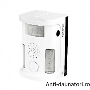 Aparat cu ultrasunete, alarma acustica si blitz anti rozatoarelor, anti pasari - Ultrasonic Pest Repel UAF03 70 mp
