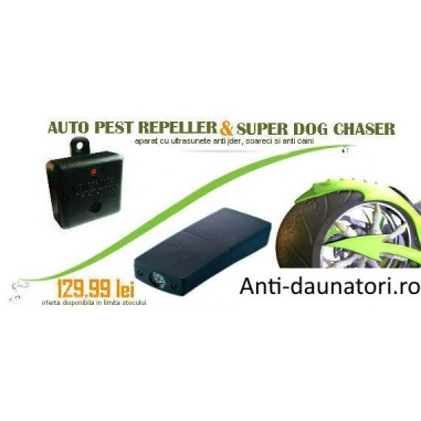 Aparat anti caini Super Dog Chaser si generator ultrasunete Auto Pestrepeller