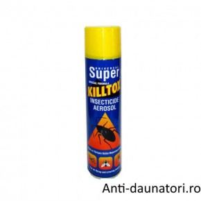 Spray-ul SUPER KILLTOX este un insecticid casnis destinat sa distruga imediat tantari, muste, molii, gandaci, furnici, paianjeni 500 ml